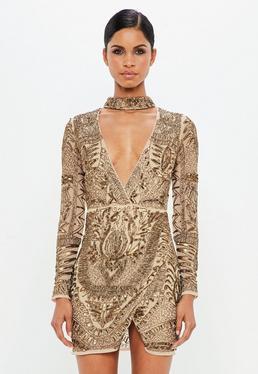 Peace + Love Bronze Choker Neck Embellished Wrap Dress