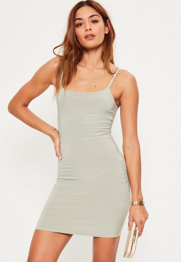Green Slinky Strappy Mini Dress