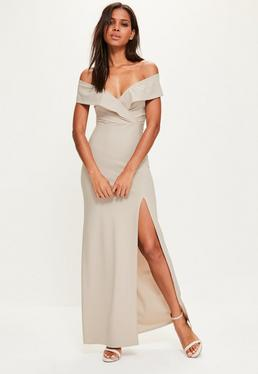 Grey Bardot Frill Maxi Dress