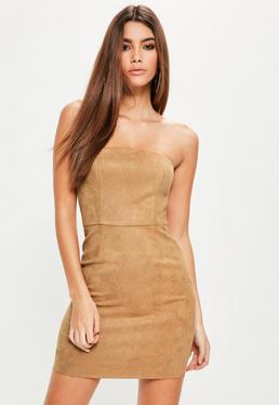 Tan Faux Suede Bandeau Bodycon Dress