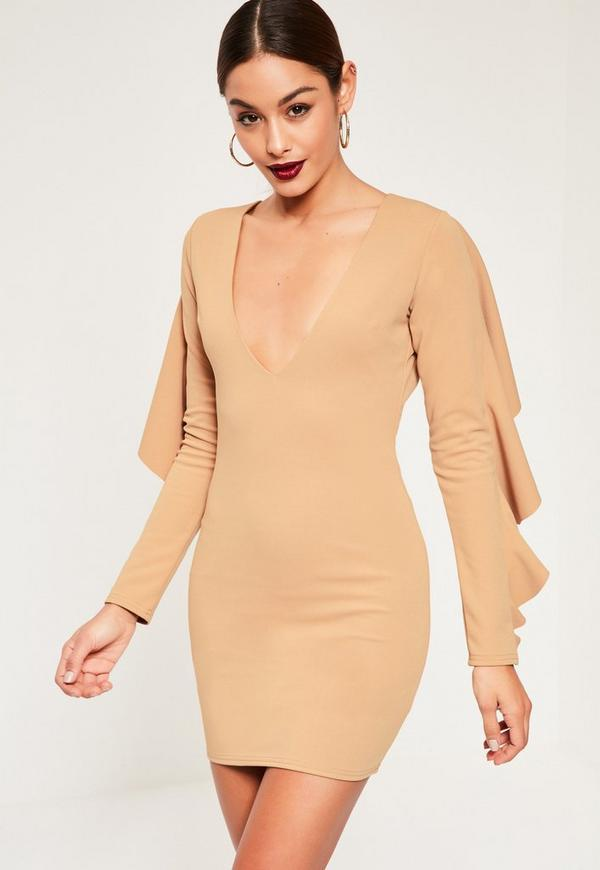 Nude Crepe Frill Back Detail Bodycon Dress