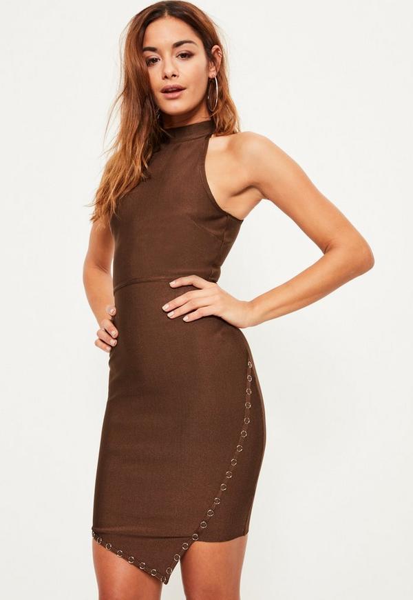 Brown Bandage Ring Detail Asymmetric Bodycon Dress