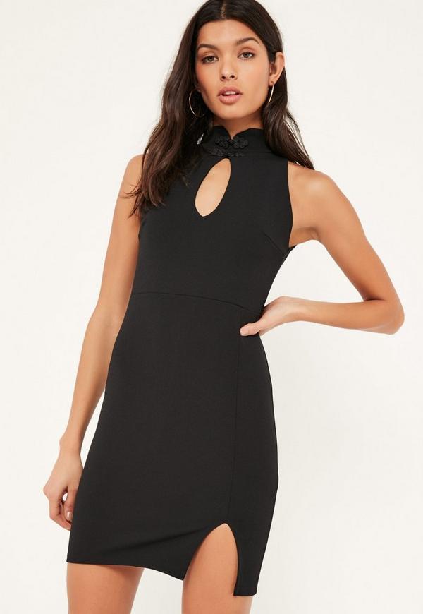 Black Crepe High Neck Racer Mini Dress
