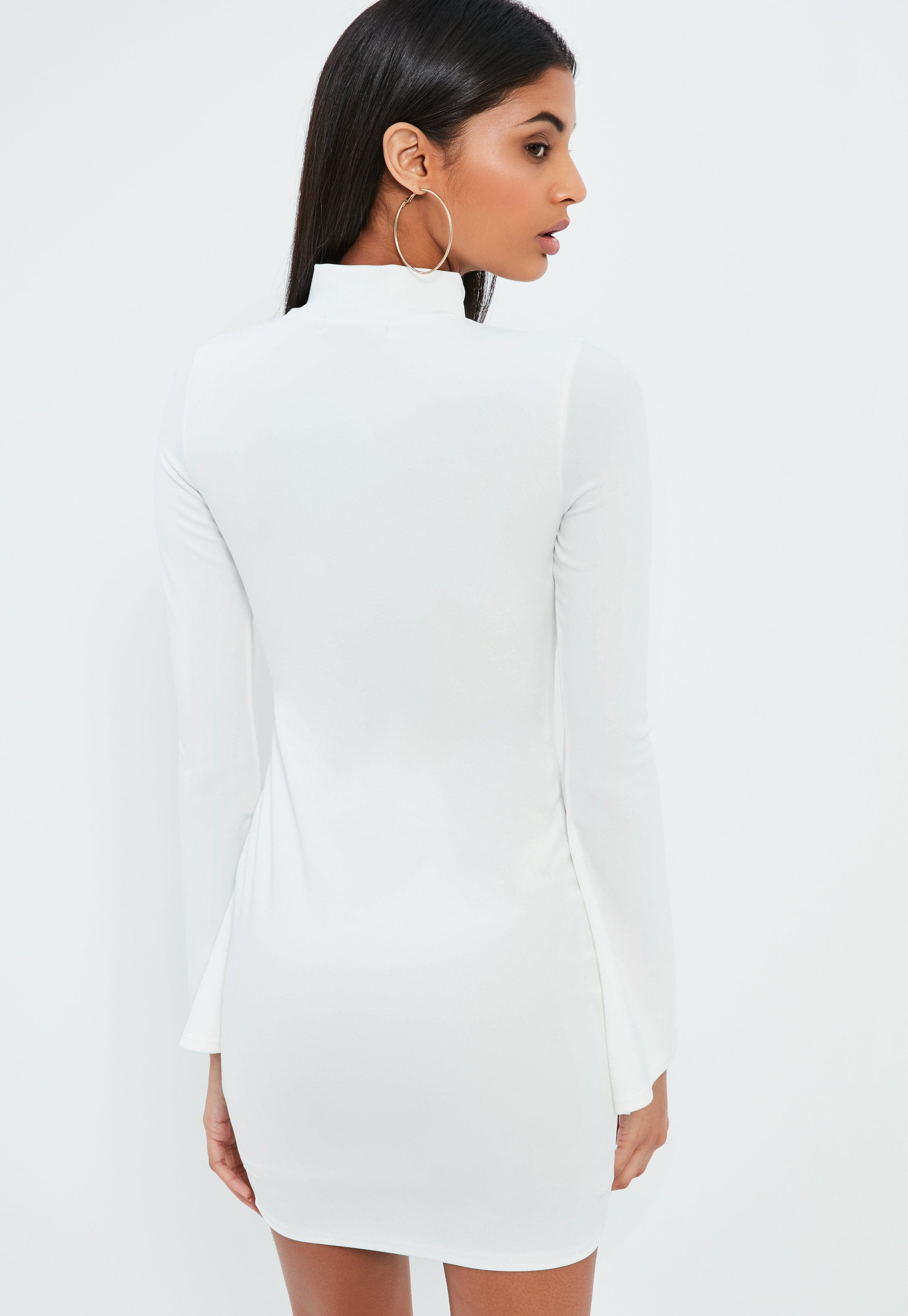 White Crepe High Neck Fitted Frog Fastening Mini Dress