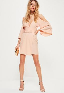Nude Crepe Cold Shoulder Kimono Sleeve Wrap Shift Dress