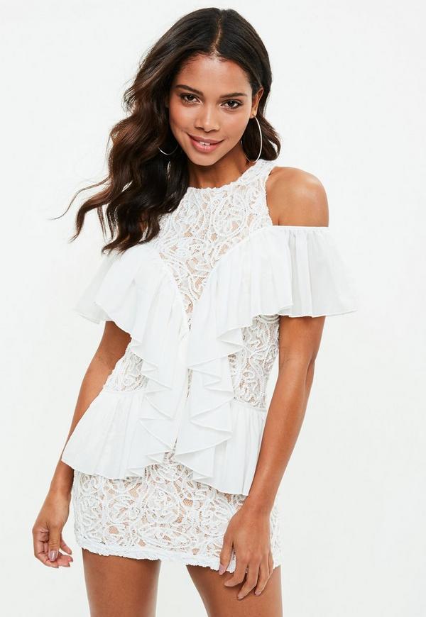White Lace Ruffle Detail Bodycon Dress