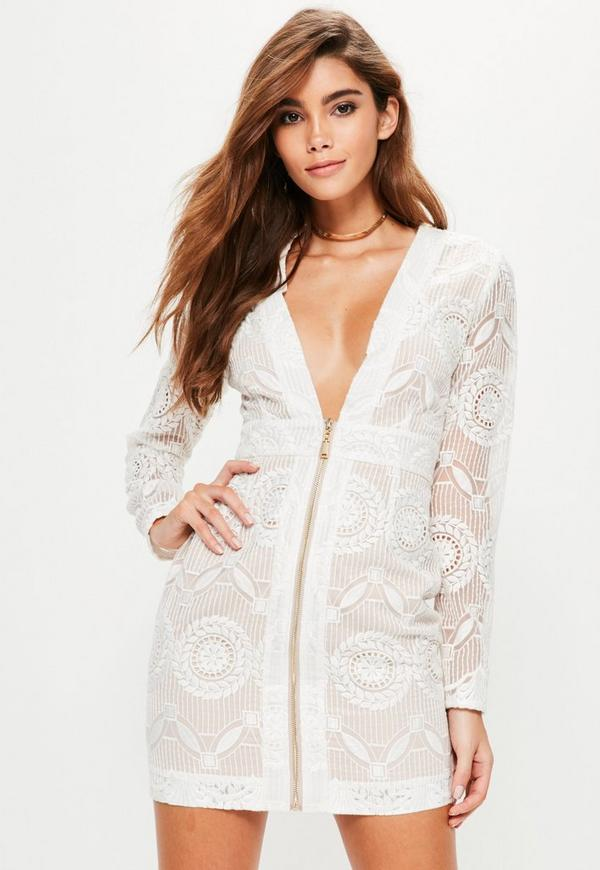 Premium White Plunge Neck Zip Through Bodycon Dress by Missguided