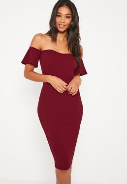 Burgundy Bardot Bodycon Midi Dress