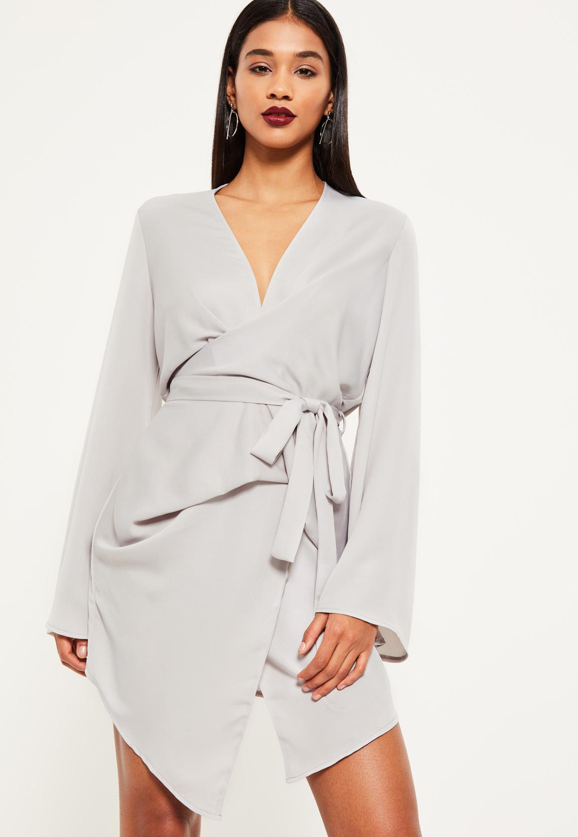 Clearance Eastbay Outlet Best Seller Missguided Long Sleeve Wrap Dress jwqhCz7m8p