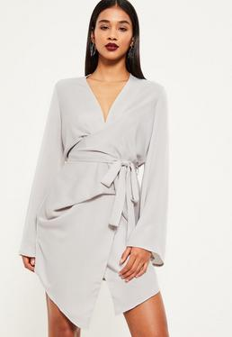 Grey Long Sleeve Kimono Wrap Dress
