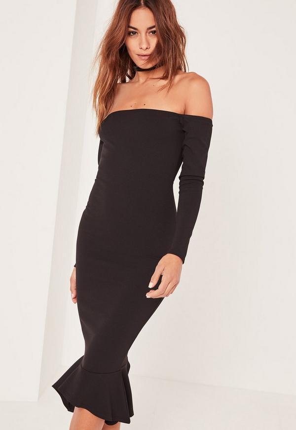 Black Bardot Fishtail Hem Dress