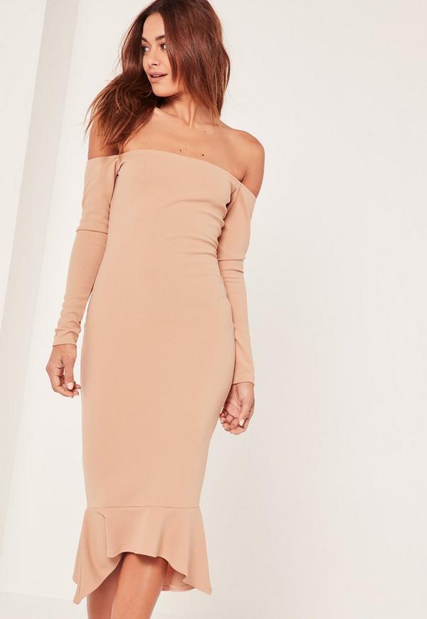 Nude Bardot Fishtail Hem Dress
