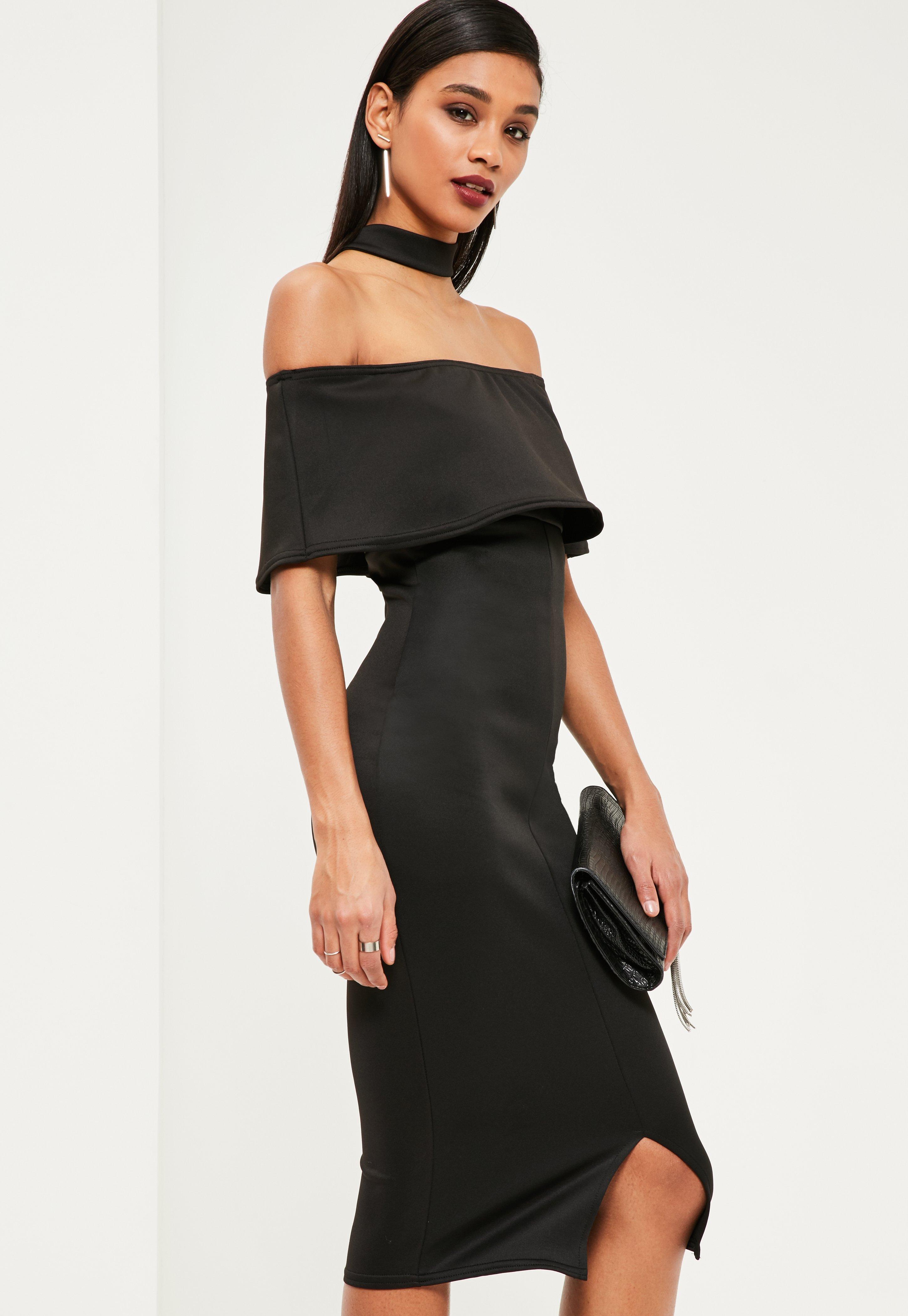 Black Choker Neck Zip Back Bandeau Midi Dress