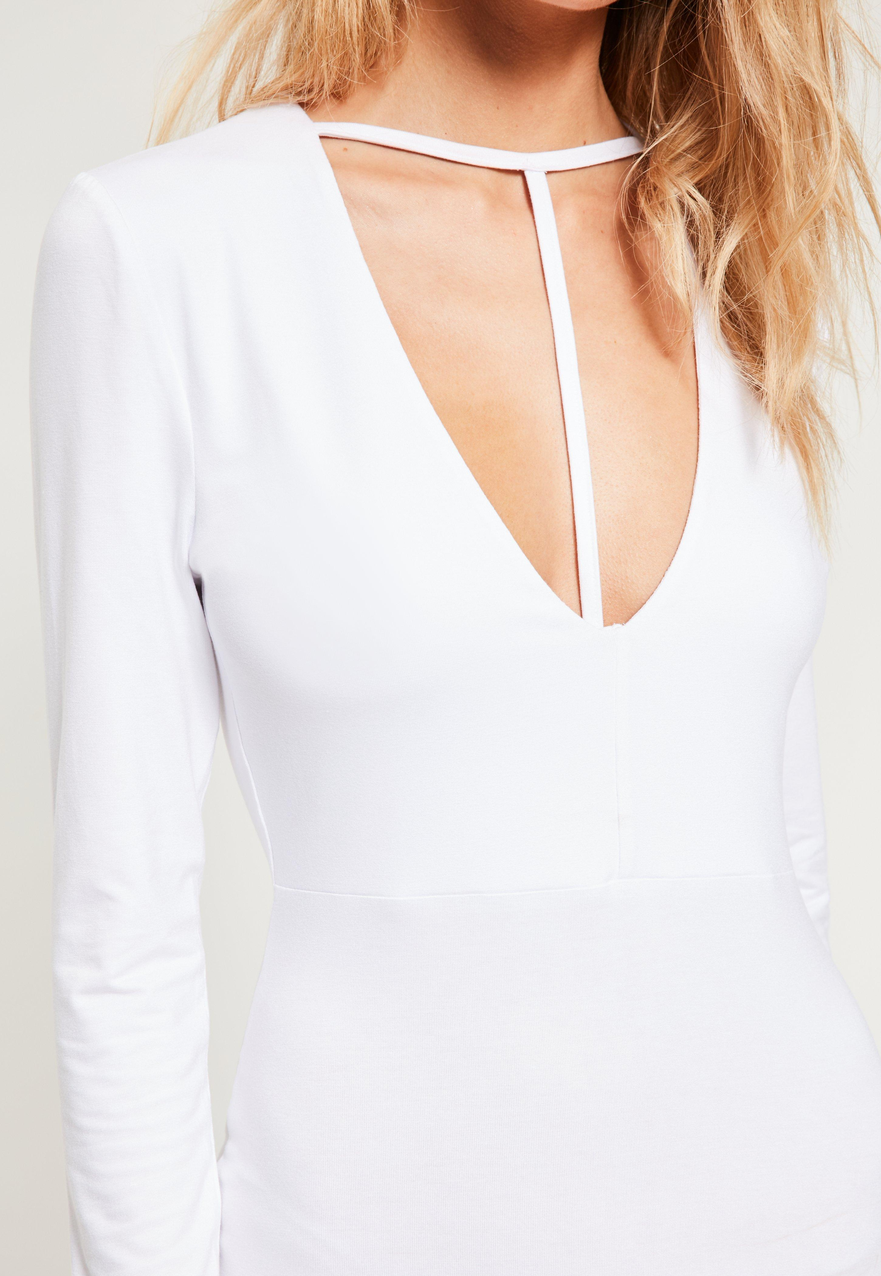 White T Harness Front Long Sleeve Bodycon Dress