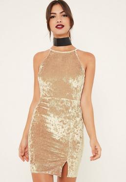 Gold 90's Split Hem Velvet Bodycon Dress
