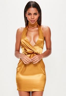 Gold Silky Drape Choker Shift Dress