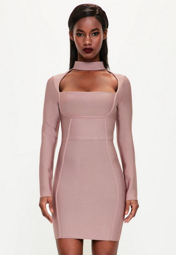 Peace + Love Pink Choker Neck Bandage Bodycon Dress | Missguided