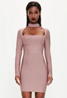 Peace + Love Pink Choker Neck Bandage Bodycon Dress