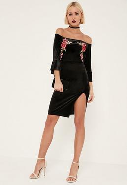 Black Velvet Embroidered Ruffle Bardot Midi Dress