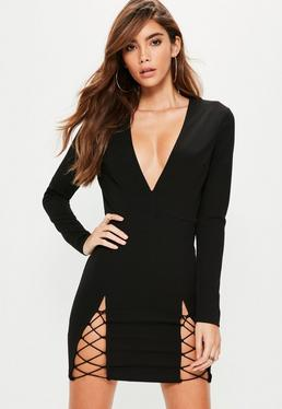 Black Long Sleeve Plunge Double Lace Up Hem Bodycon Dress