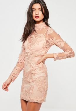 Pink High Neck Long Sleeve Embroidered Lace Bodycon Dress