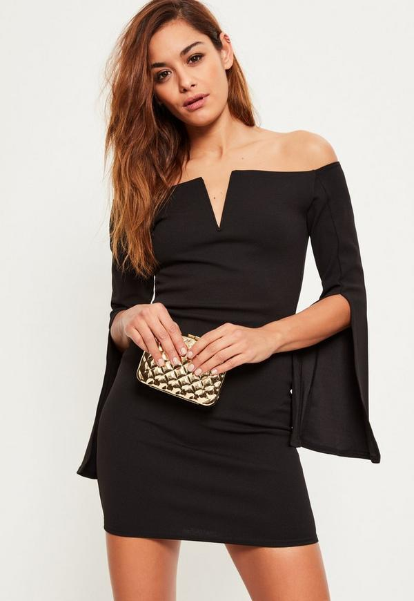 Black Crepe Bardot Split Flared Sleeve Dress