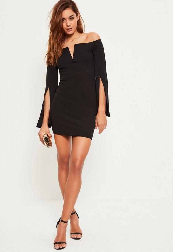 Black Crepe Bardot Split Flared Sleeve Dress Missguided