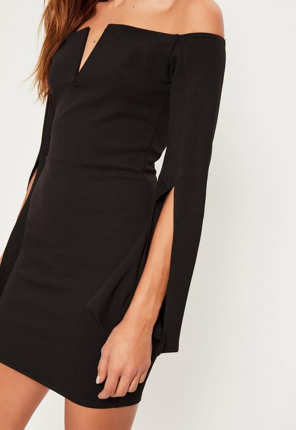 Black Crepe Bardot Split Flared Sleeve Dress Missguided
