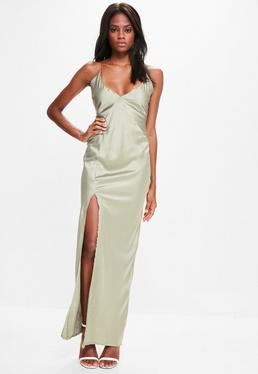 Green Silky Plunge Maxi Dress