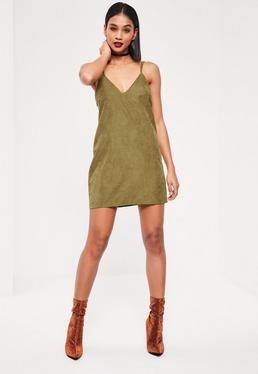 Luźna krótka sukienka w kolorze khaki
