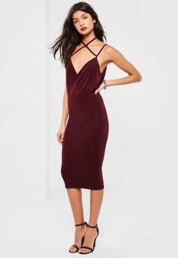 Burgundy Wrap Strappy Halterneck Slinky Midi Dress