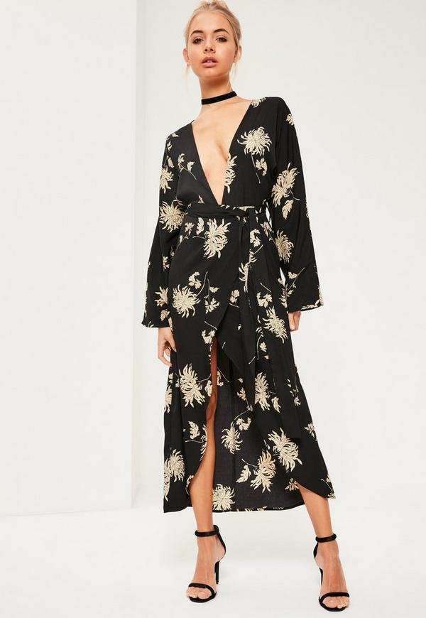 Black Floral Printed Silky Kimono Maxi Dress | Missguided