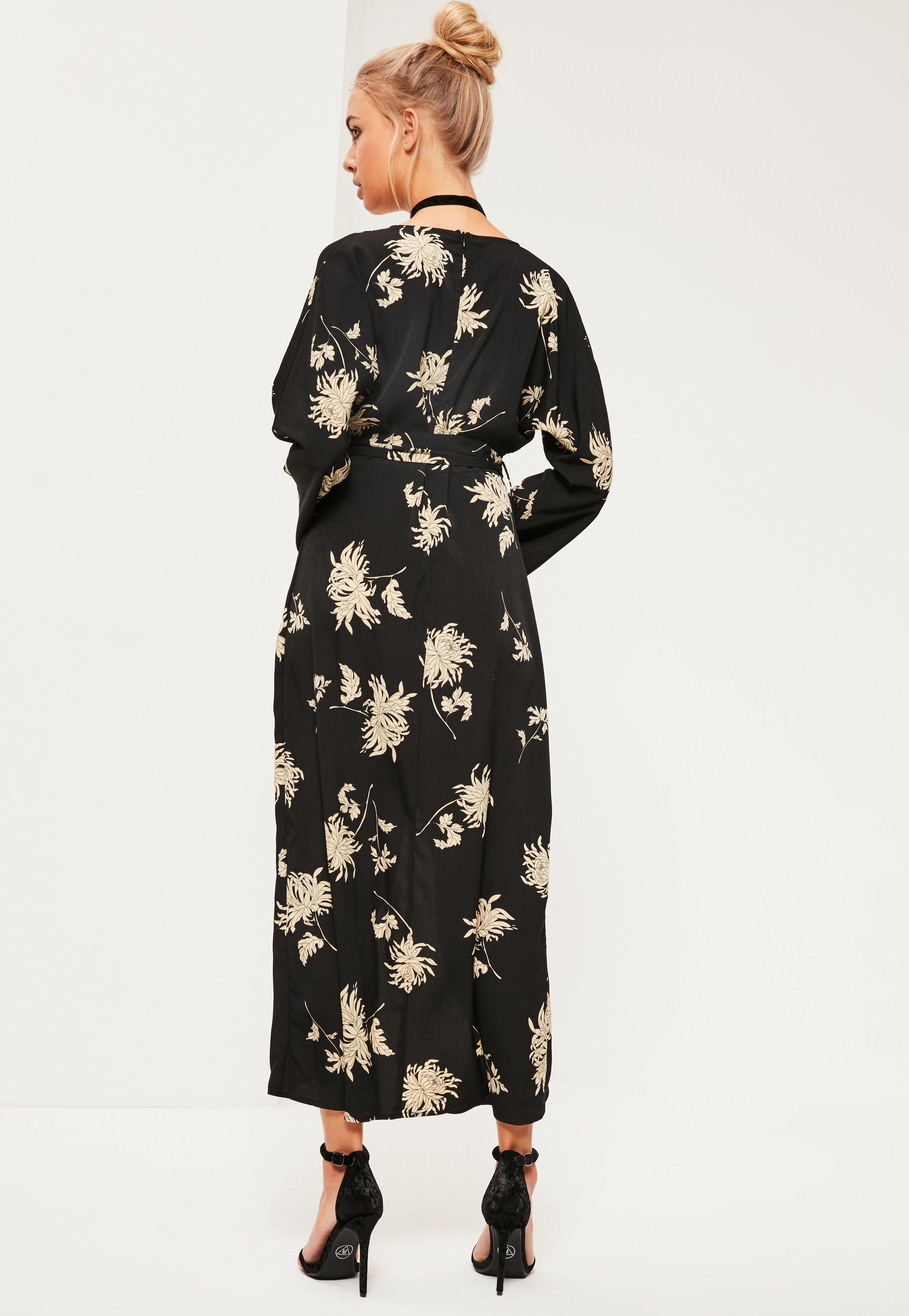 Black Floral Printed Silky Kimono Maxi Dress