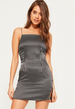 Black Silky 90's Neck Stripe Shift Dress