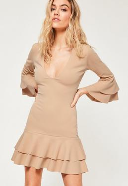 Nude Crepe Plunge Frill Hem Bodycon Dress