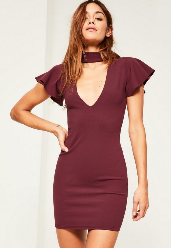 Burgundy Crepe Frill Sleeve Choker Neck Bodycon Dress