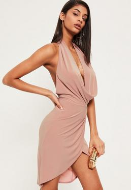 Pink Slinky Cowl Neck Midi Dress
