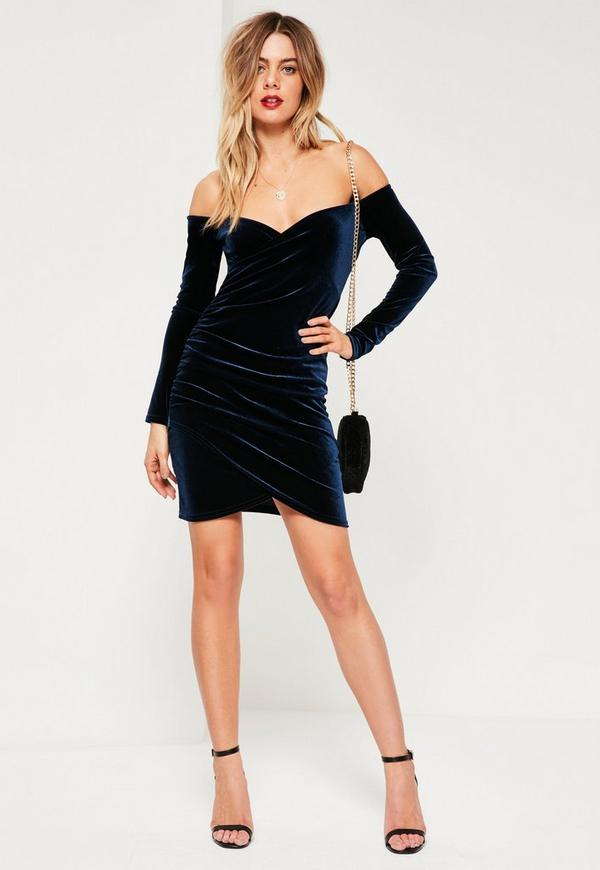 Navy Bardot Wrap Long Sleeve Velvet Dress | Missguided
