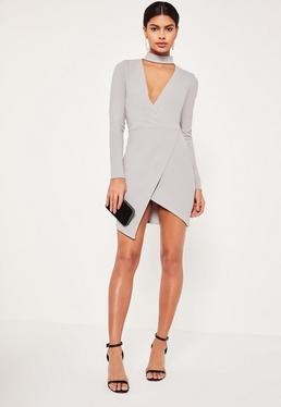 Grey Choker Neck Wrap Bodycon Dress