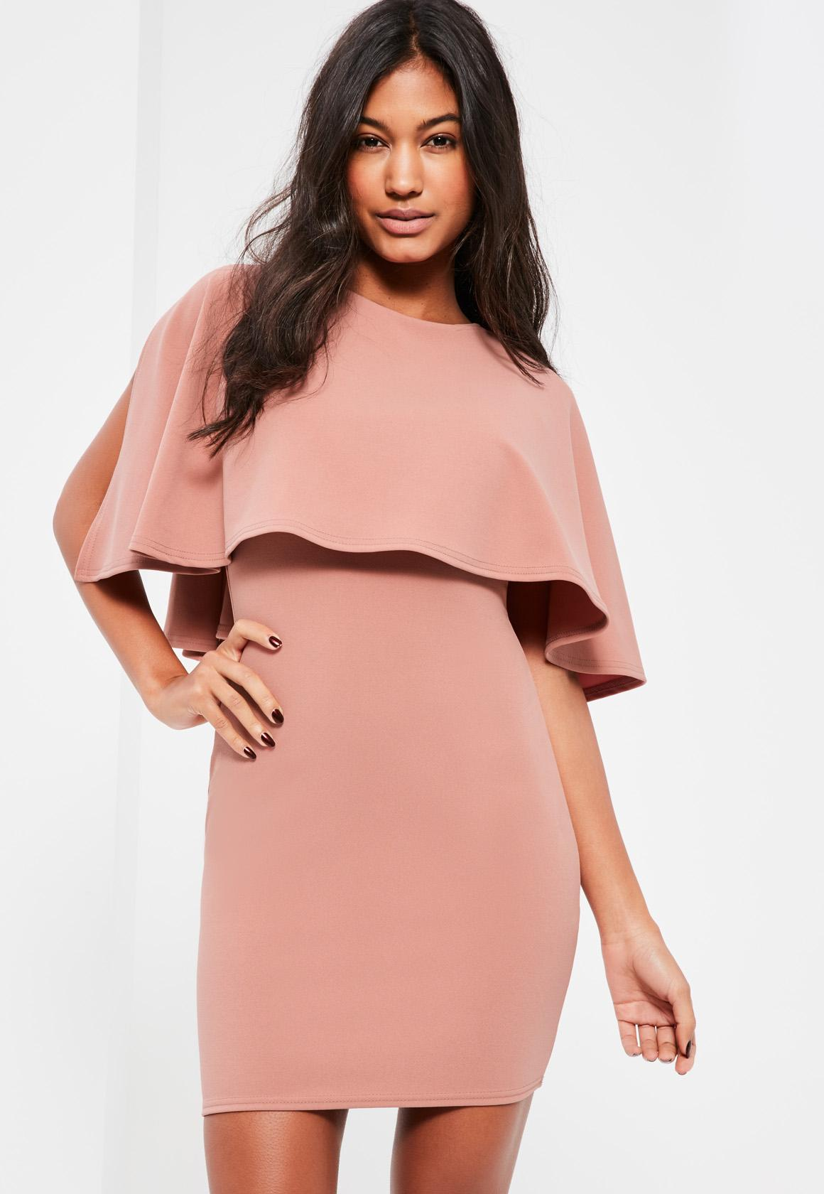 Pink Overlay Bodycon Dress