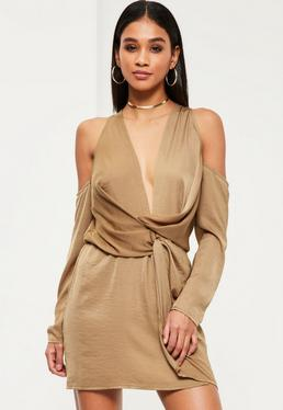 Nude Silky Cold Shoulder Knot Shift Dress