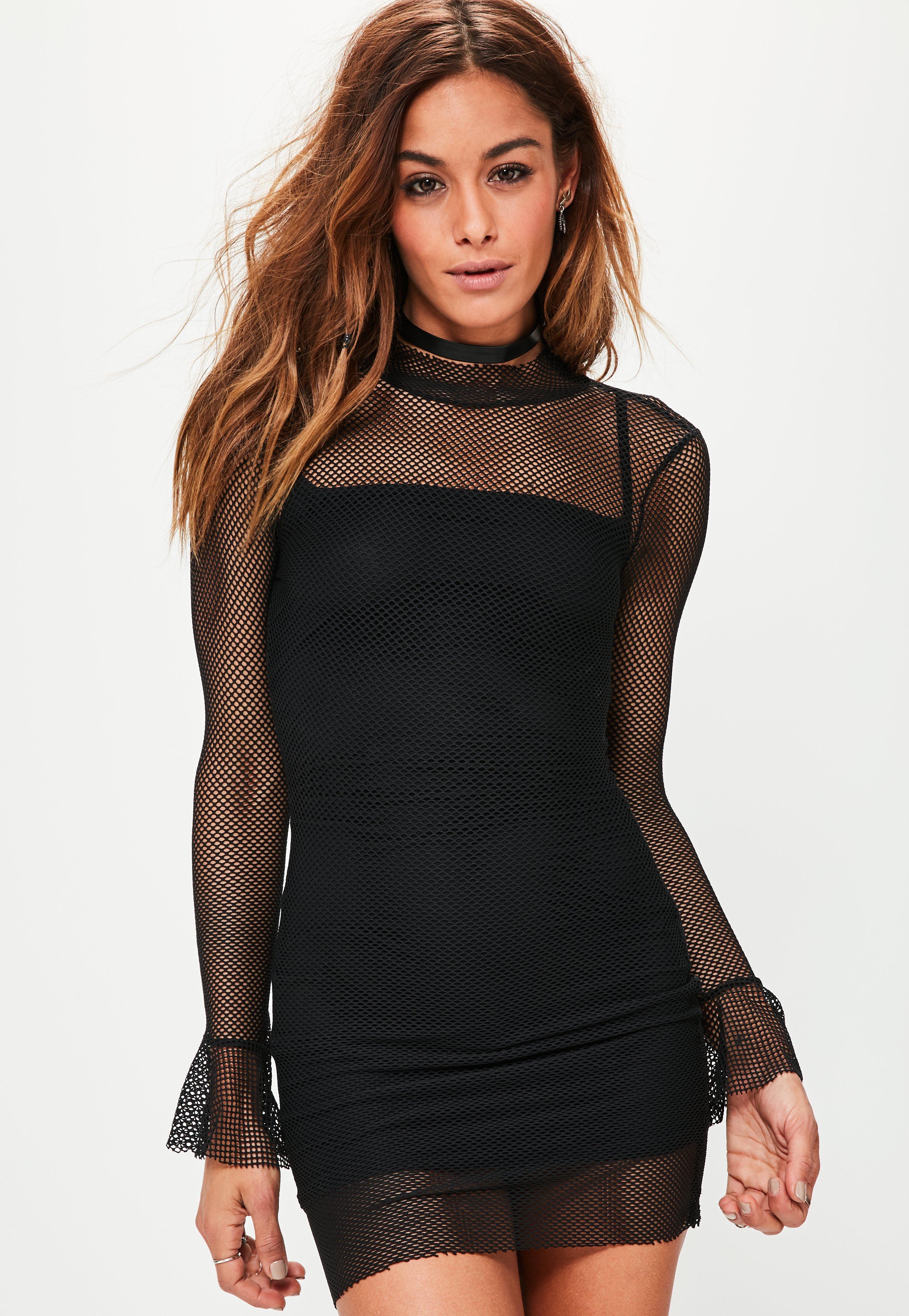 Black Mesh Flared Sleeve Bodycon Dress