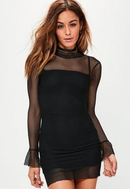 Black Mesh Flared Sleeve Bodycon Dress