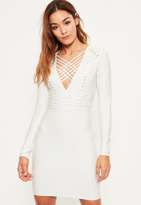 White Bandage Long Sleeve Strappy Bodycon Dress