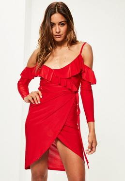Red Slinky Frill Cold Shoulder Midi Dress