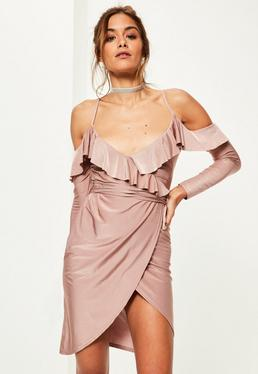 Pink Slinky Frill Cold Shoulder Midi Dress