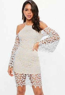 Grey Lace Cold Shoulder Flared Sleeve Midi Dress
