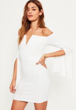 White Crepe Bardot Split Flared Sleeve Dress