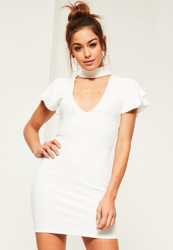 White Crepe Frill Sleeve Choker Neck Bodycon Dress