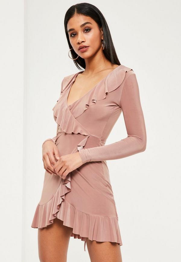 Pink Silky Frill Wrap Bodycon Dress